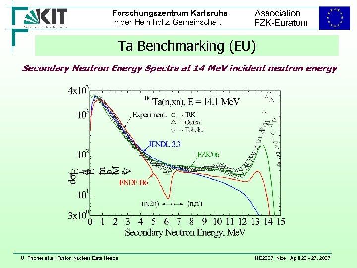 Forschungszentrum Karlsruhe in der Helmholtz-Gemeinschaft Association FZK-Euratom Ta Benchmarking (EU) Secondary Neutron Energy Spectra