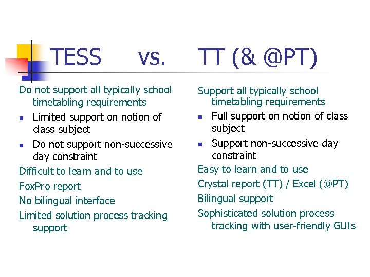 TESS vs. Do not support all typically school timetabling requirements n Limited support on