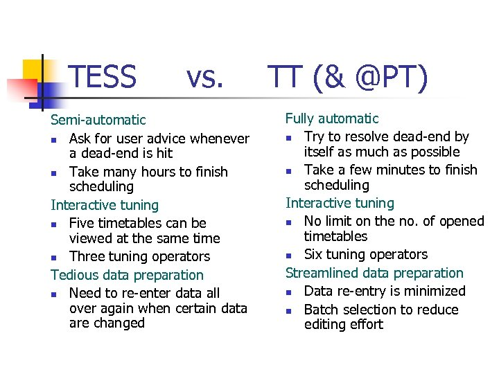 TESS vs. Semi-automatic n Ask for user advice whenever a dead-end is hit n