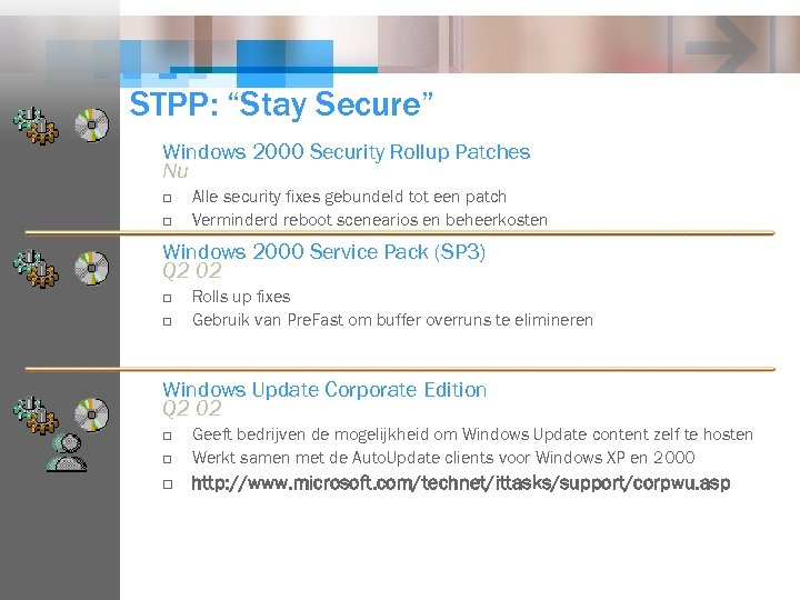"""STPP: """"Stay Secure"""" Windows 2000 Security Rollup Patches Nu o o Alle security fixes"""