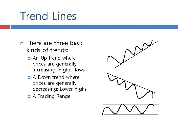 Trend Lines There are three basic kinds of trends: An Up trend where prices
