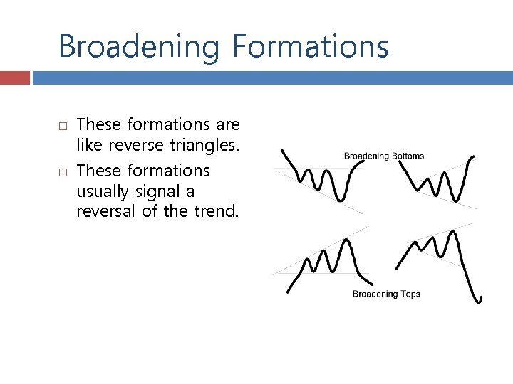 Broadening Formations These formations are like reverse triangles. These formations usually signal a reversal