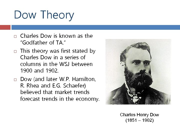 """Dow Theory Charles Dow is known as the """"Godfather of TA. """" This theory"""