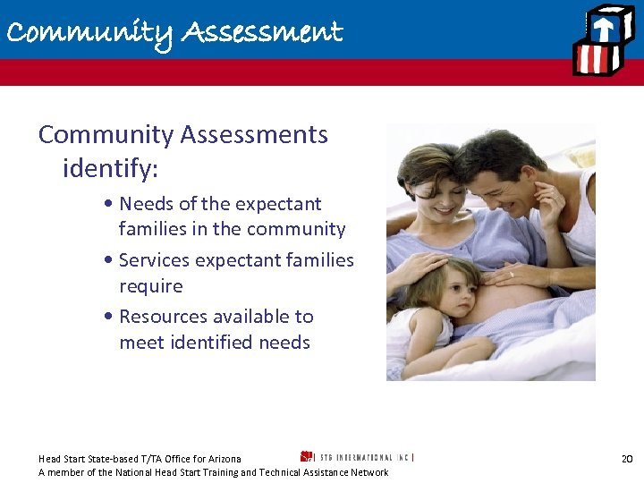 Community Assessments identify: • Needs of the expectant families in the community • Services