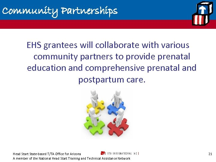 Community Partnerships EHS grantees will collaborate with various community partners to provide prenatal education