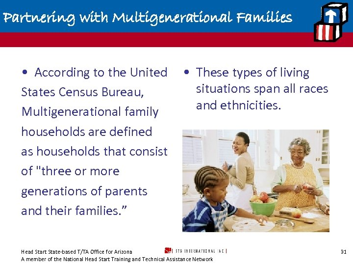 Partnering with Multigenerational Families • According to the United States Census Bureau, Multigenerational family