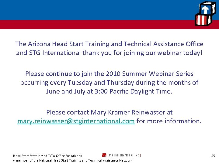 The Arizona Head Start Training and Technical Assistance Office and STG International thank you
