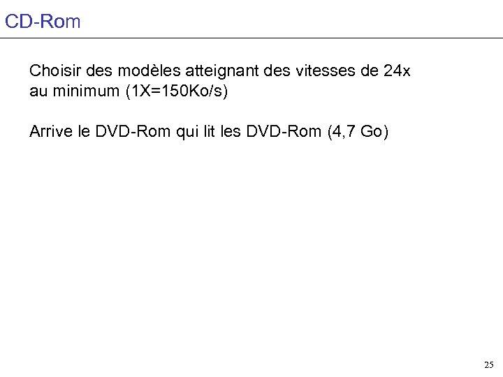 CD-Rom Choisir des modèles atteignant des vitesses de 24 x au minimum (1 X=150