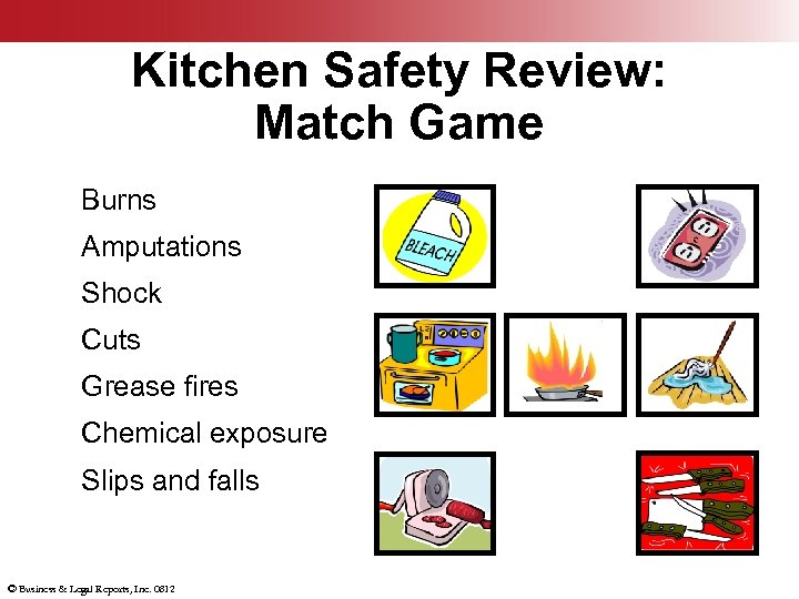 Kitchen Safety Review: Match Game Burns Amputations Shock Cuts Grease fires Chemical exposure Slips