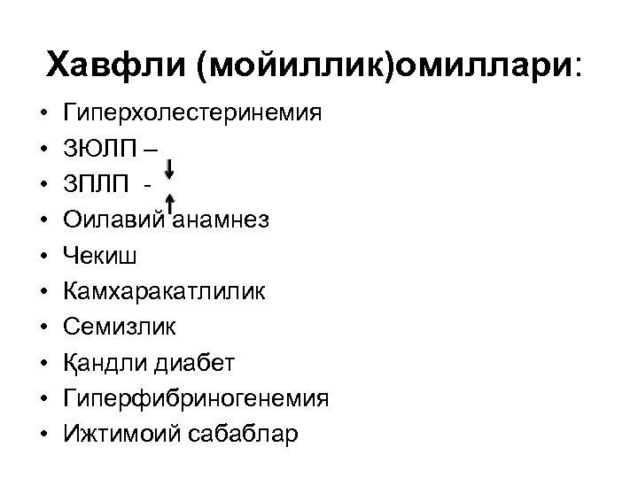 Хавфли (мойиллик)омиллари: • • • Гиперхолестеринемия ЗЮЛП – ЗПЛП Оилавий анамнез Чекиш Камхаракатлилик Семизлик