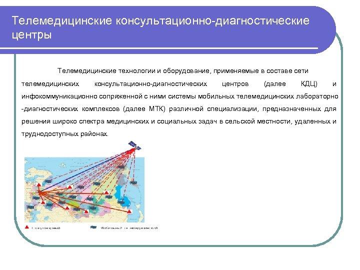 Телемедицинские консультационно-диагностические центры Телемедицинские технологии и оборудование, применяемые в составе сети телемедицинских консультационно-диагностических центров