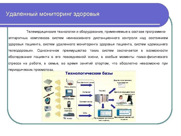 Удаленный мониторинг здоровья Телемедицинские технологии и оборудование, применяемые в составе программноаппаратных комплексов систем неинвазивного
