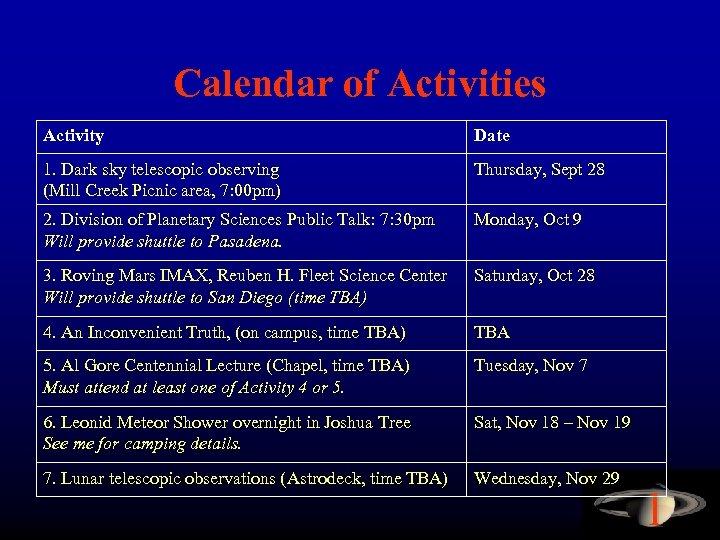 Calendar of Activities Activity Date 1. Dark sky telescopic observing (Mill Creek Picnic area,