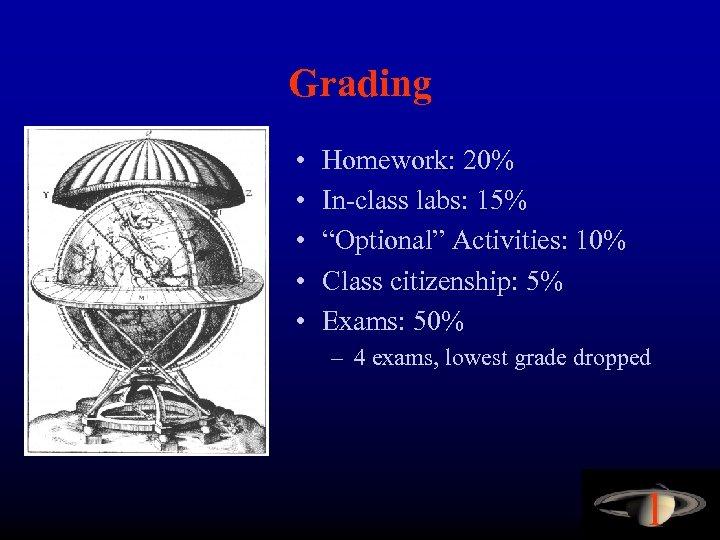 """Grading • • • Homework: 20% In-class labs: 15% """"Optional"""" Activities: 10% Class citizenship:"""