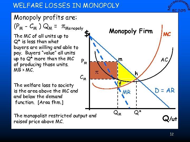 WELFARE LOSSES IN MONOPOLY Monopoly profits are: (PM - CM ) QM = p.