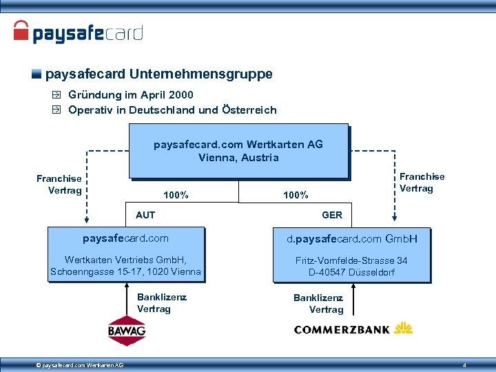paysafecard Unternehmensgruppe Gründung im April 2000 Operativ in Deutschland und Österreich paysafecard. com Wertkarten