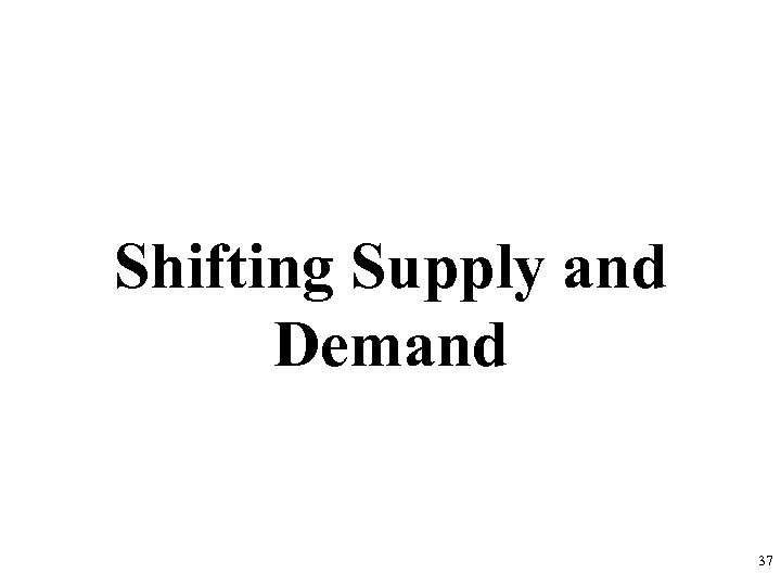 Shifting Supply and Demand 37