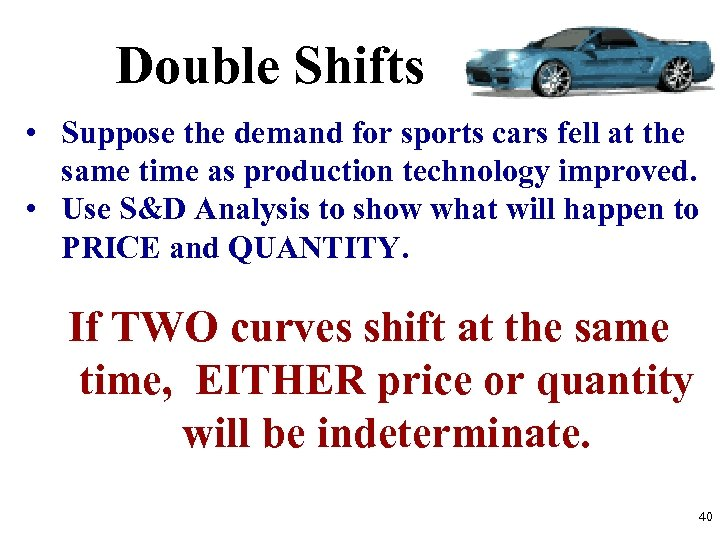 Double Shifts • Suppose the demand for sports cars fell at the same time