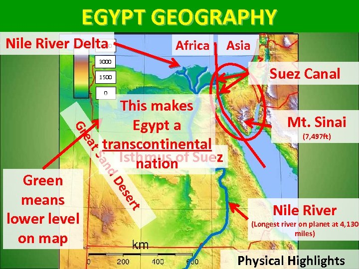 EGYPT GEOGRAPHY Nile River Delta 5000 Africa 3000 1500 Asia Suez Canal 0 ert