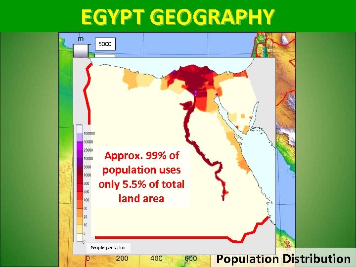 EGYPT GEOGRAPHY 5000 3000 1500 0 Approx. 99% of population uses only 5. 5%