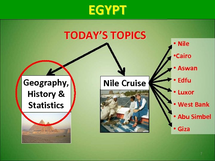 EGYPT TODAY'S TOPICS • Nile • Cairo • Aswan Geography, History & Statistics Nile