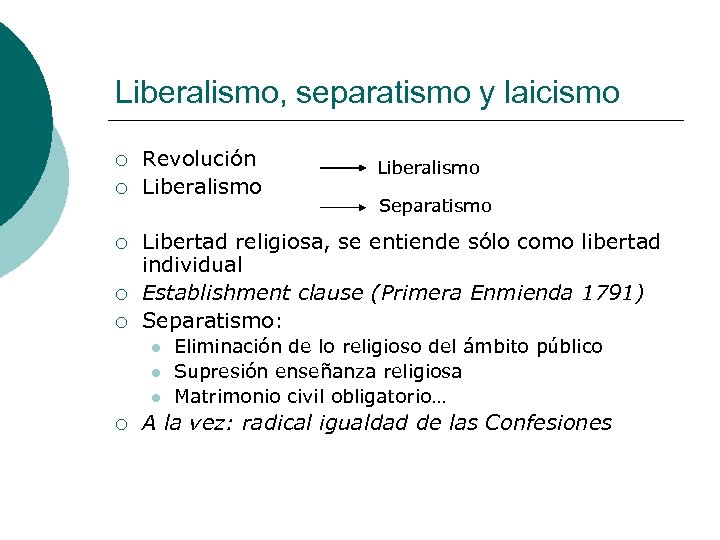 Liberalismo, separatismo y laicismo ¡ ¡ ¡ Revolución Liberalismo Separatismo Libertad religiosa, se entiende
