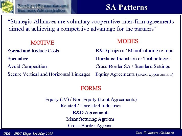 "SA Patterns ""Strategic Alliances are voluntary cooperative inter-firm agreements aimed at achieving a competitive"