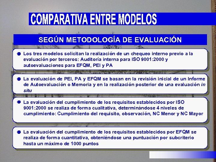 SEGÚN METODOLOGÍA DE EVALUACIÓN Los tres modelos solicitan la realización de un chequeo interno