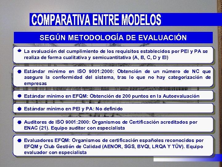 SEGÚN METODOLOGÍA DE EVALUACIÓN La evaluación del cumplimiento de los requisitos establecidos por PEI