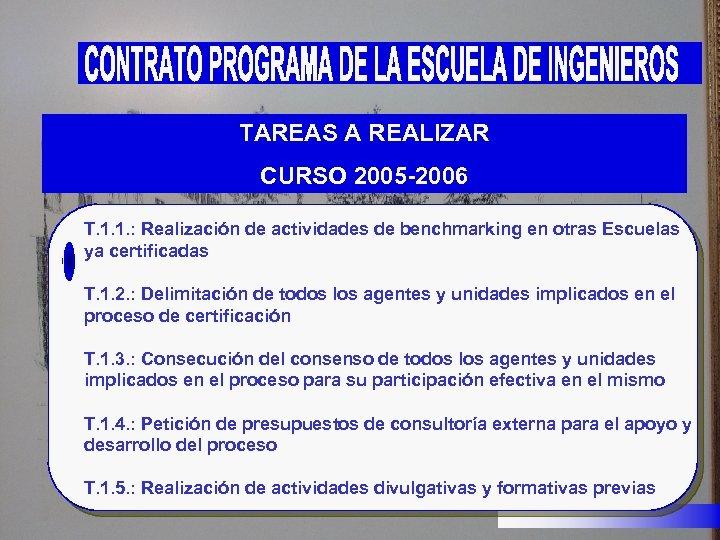TAREAS A REALIZAR CURSO 2005 -2006 T. 1. 1. : Realización de actividades de