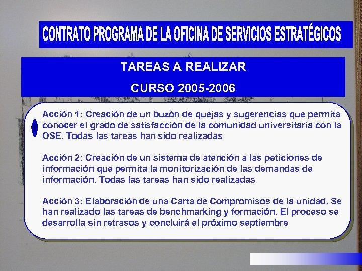 TAREAS A REALIZAR CURSO 2005 -2006 Acción 1: Creación de un buzón de quejas