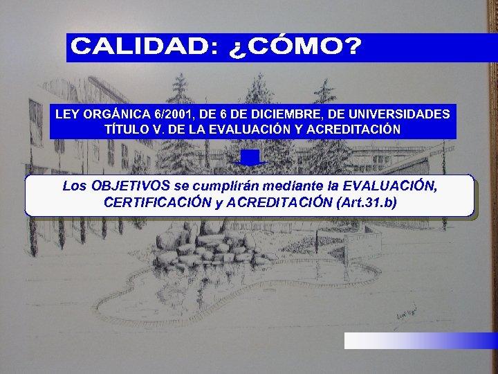 LEY ORGÁNICA 6/2001, DE 6 DE DICIEMBRE, DE UNIVERSIDADES TÍTULO V. DE LA EVALUACIÓN