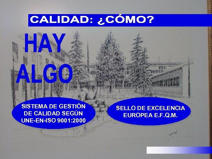 SISTEMA DE GESTIÓN DE CALIDAD SEGÚN UNE-EN-ISO 9001: 2000 SELLO DE EXCELENCIA EUROPEA E.