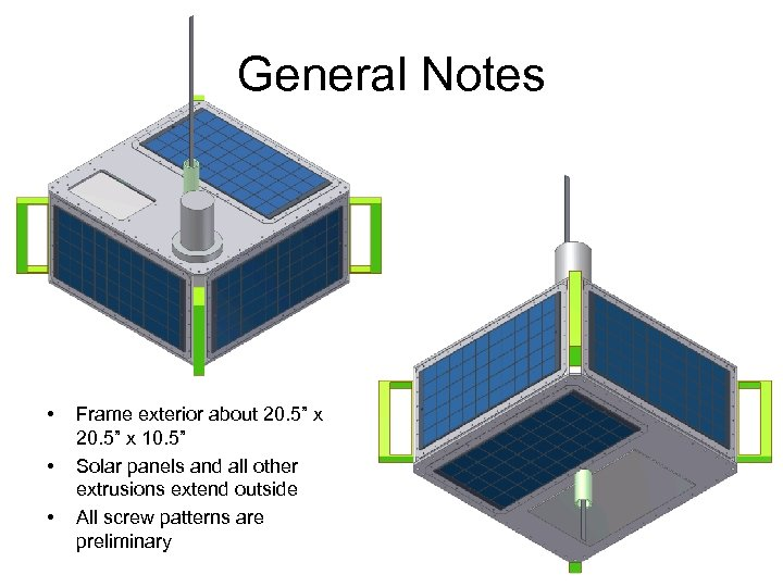 """General Notes • • • Frame exterior about 20. 5"""" x 10. 5"""" Solar"""