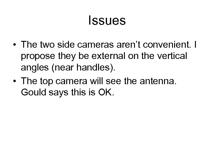 Issues • The two side cameras aren't convenient. I propose they be external on
