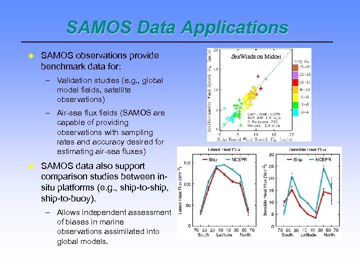 SAMOS Data Applications SAMOS observations provide benchmark data for: – Validation studies (e. g.