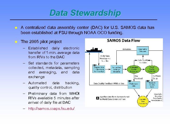 Data Stewardship A centralized data assembly center (DAC) for U. S. SAMOS data has