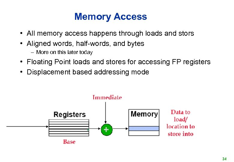Memory Access • All memory access happens through loads and stors • Aligned words,