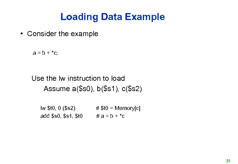 Loading Data Example • Consider the example a = b + *c; Use the