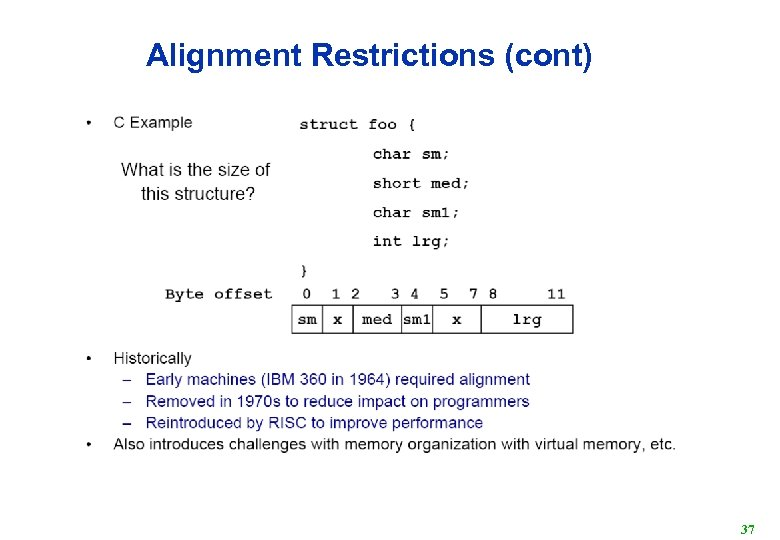 Alignment Restrictions (cont) 37
