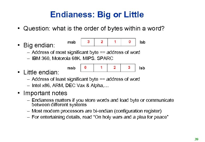Endianess: Big or Little • Question: what is the order of bytes within a