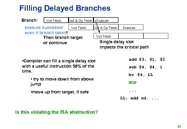 Filling Delayed Branches Branch: Inst Fetch Execute Dcd & Op Fetch Inst Fetch execute