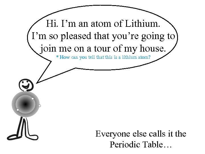 Hi. I'm an atom of Lithium. I'm so pleased that you're going to join