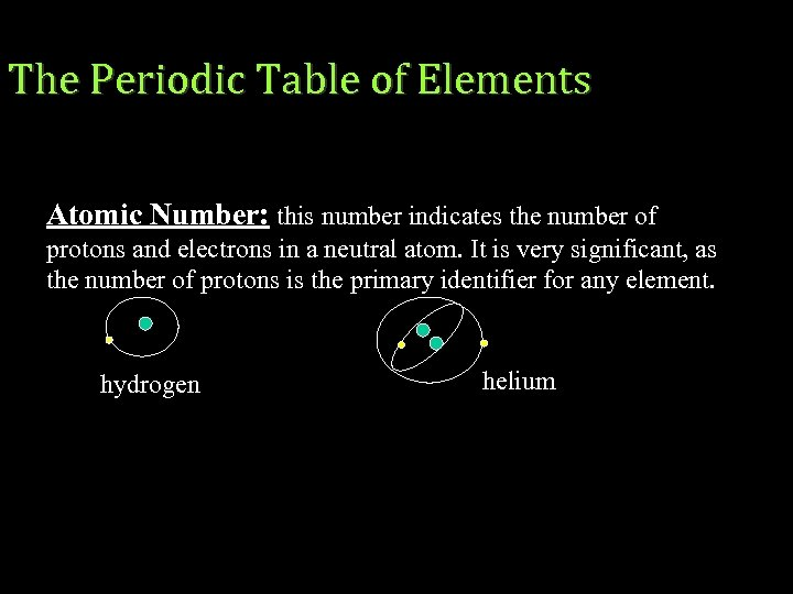 The Periodic Table of Elements Atomic Number: this number indicates the number of protons