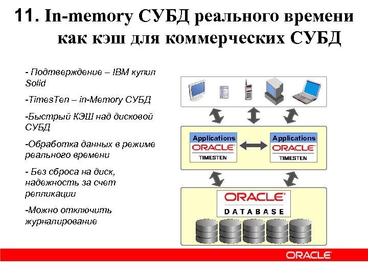 11. In-memory СУБД реального времени как кэш для коммерческих СУБД - Подтверждение – IBM