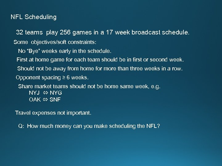 NFL Scheduling 32 teams play 256 games in a 17 week broadcast schedule. Some