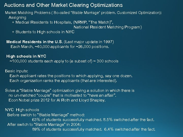"Auctions and Other Market Clearing Optimizations Market Matching Problems ( So-called ""Stable Marriage"" problem."