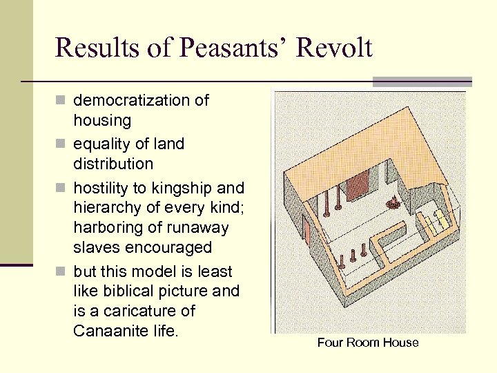 Results of Peasants' Revolt n democratization of housing n equality of land distribution n