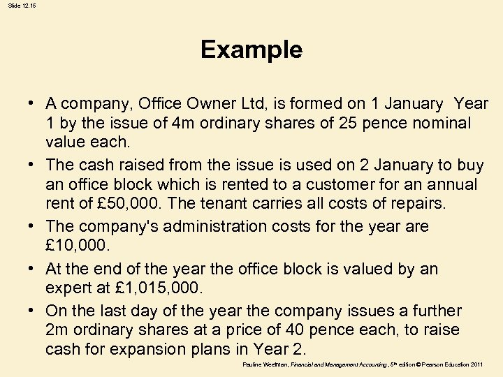 Slide 12. 15 Example • A company, Office Owner Ltd, is formed on 1