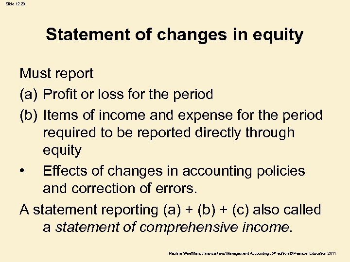 Slide 12. 20 Statement of changes in equity Must report (a) Profit or loss